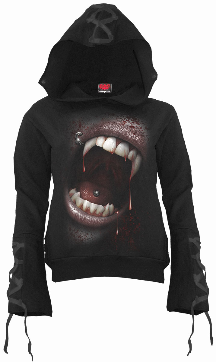 Goth Fangs Black Ribbon Gothic Hoody Black