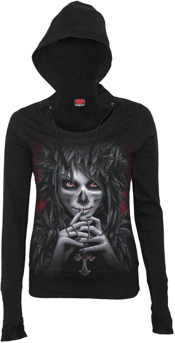 Day Of The Goth Wide Rib Drape Hoody Black