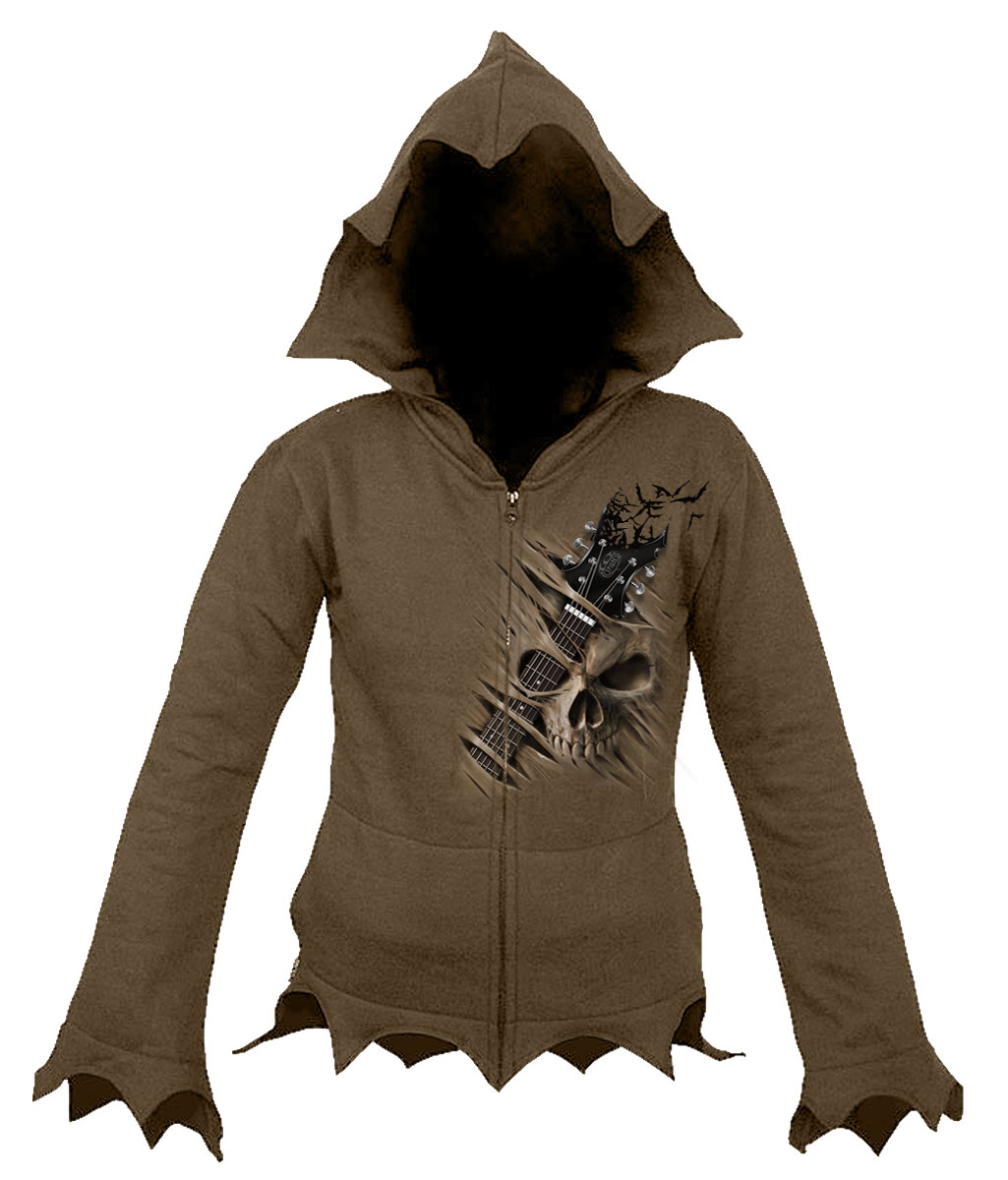 Night Riffs Zig Zag Hem Full Zip Hoody Chocolate