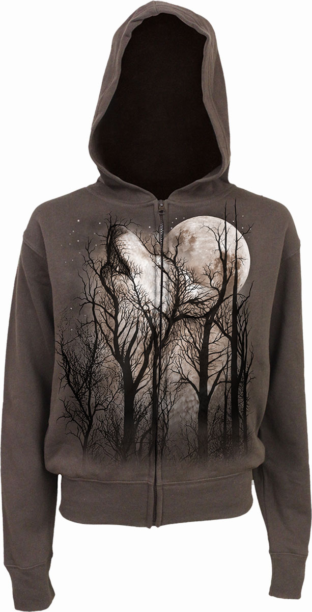 Forest Wolf Full Zip Hoody Chocolate