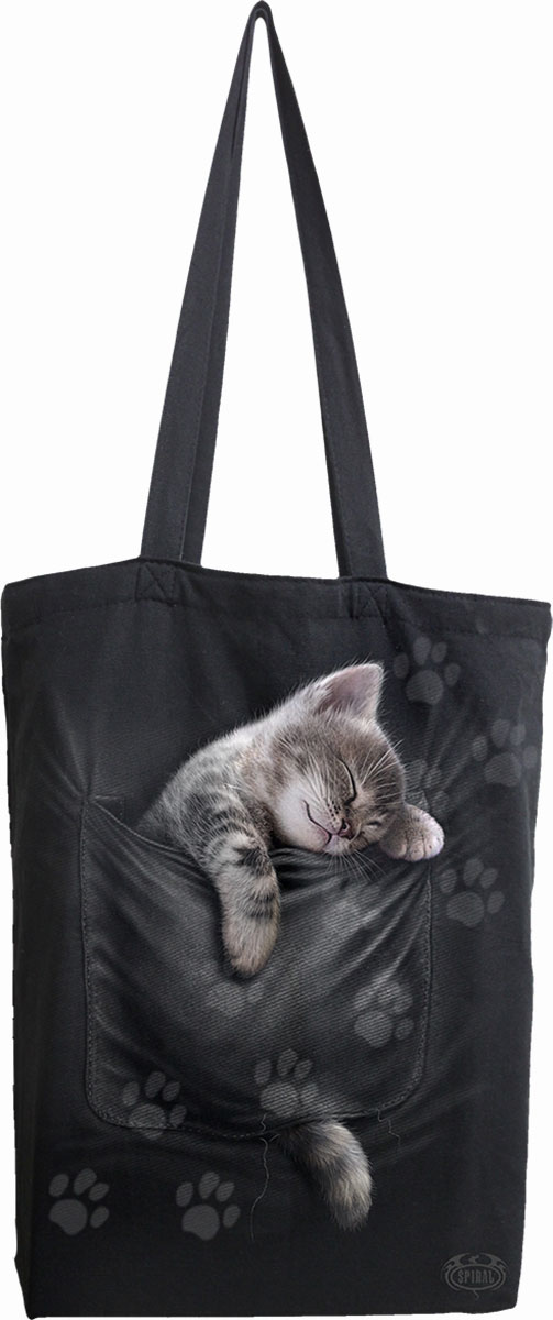 Pocket Kitten Bag 4 Life - Canvas 80Z Long Handle Tote Bag