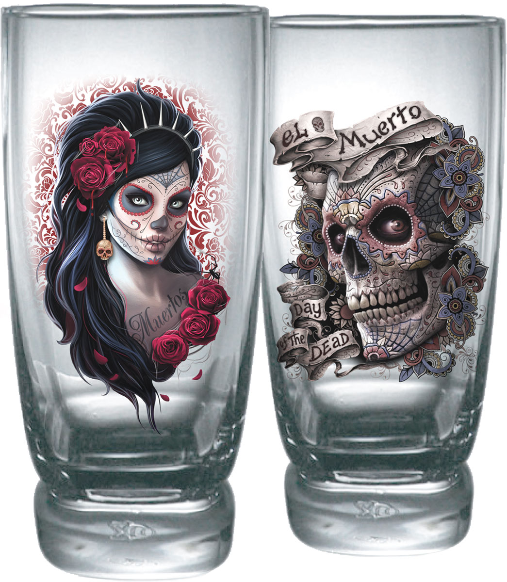 Day Of The Dead Water Glasses - Set Of 2