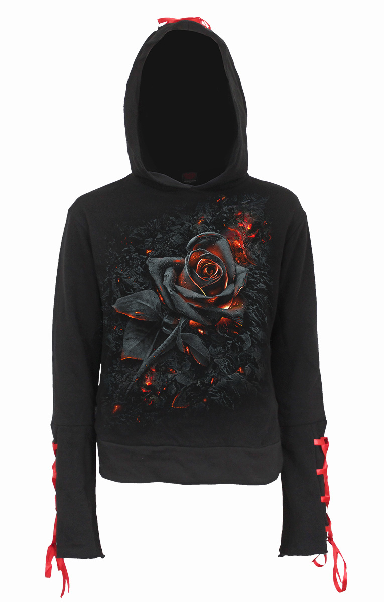 Burnt Rose Red Ribbon Gothic Hoody Black