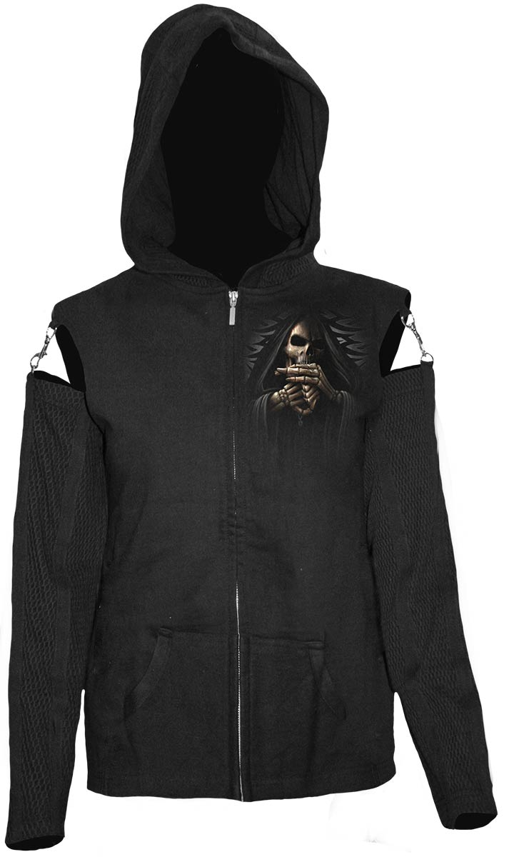 Bone Finger Mesh Sleeve Full Zip Hoody Black