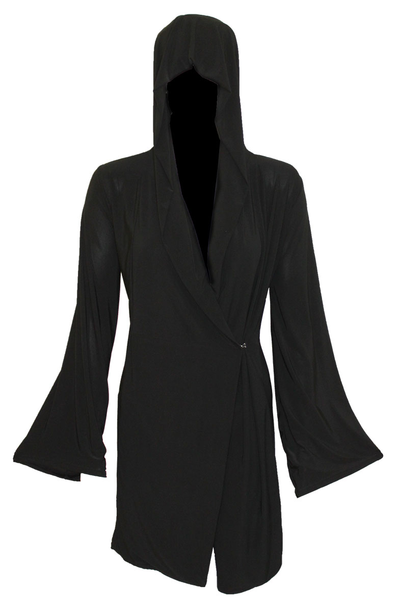 Gothic Elegance Gothic Hooded Robe Wrap Black