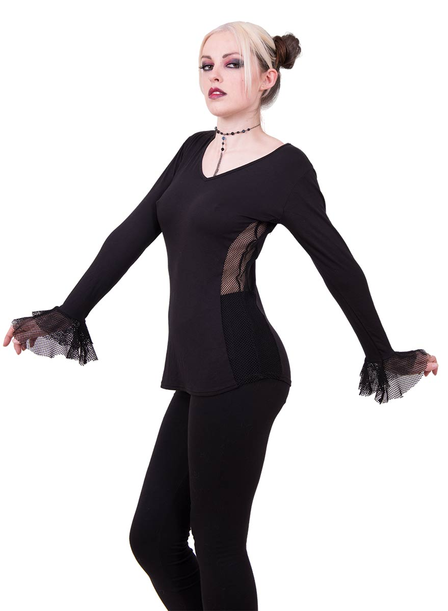 Fish-Net Side And Cuff V-Neck Was $24.99 Gothic Elegance