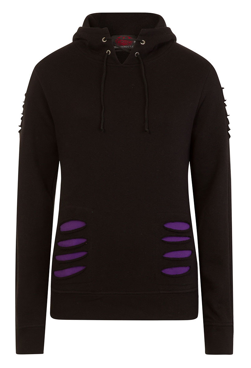 Gothic Rock Large Hood Ripped Hoody Purple-Black