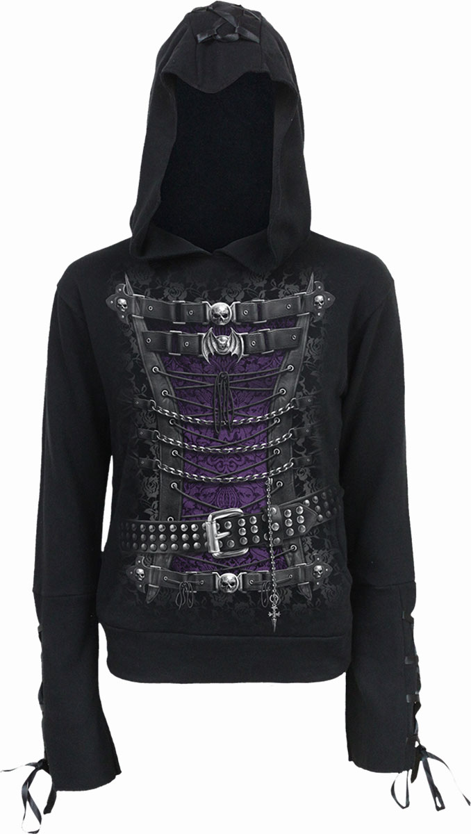 Waisted Corset Black Ribbon Gothic Hoody Black