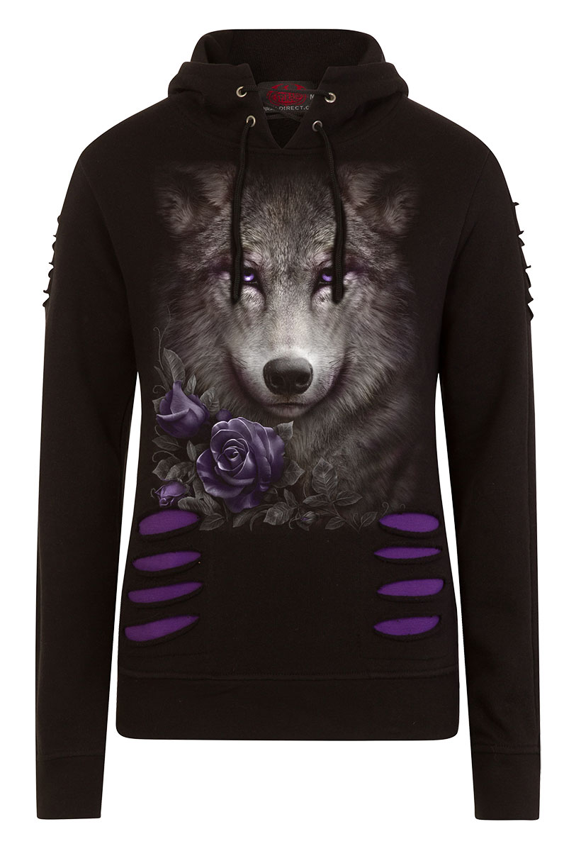 Wolf Roses Large Hood Ripped Hoody Purple-Black