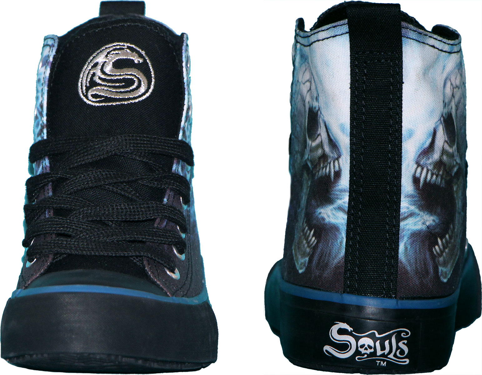 Spiral Flaming Spine Men/'S High Top Laceup|Skeleton|Flames|Tribal Sneakers