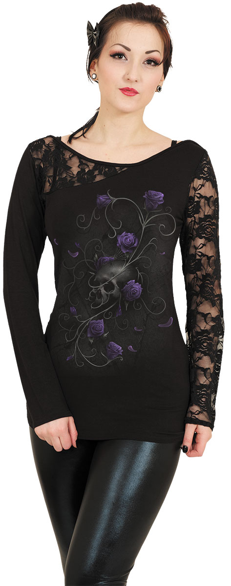 Lace One Shoulder Top GOTHIC ELEGANCE Womens Lace Spiral Gothic Fashion